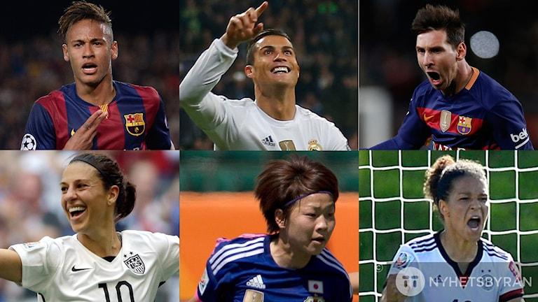 Neymar, Ronaldo, Messi, Lloyd, Miyama och Sasic är nominerade. Foto: TT Kollage: SR