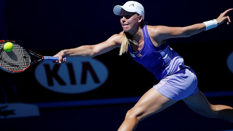 Johanna Larsson under förra årets Australian Open. Foto: Vincent Thian/TT.