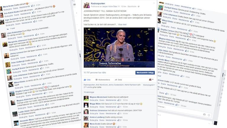 Facebookhyllningar Sarah Sjöström