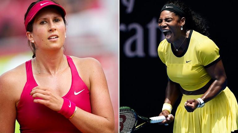 Sofia Arvidsson (t.v.) och Serena Williams. Foton: TT.