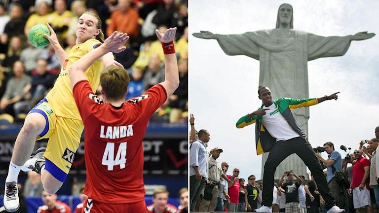 Collage Svenska handbollslandslaget och Rio. Foto: TT, collage SR