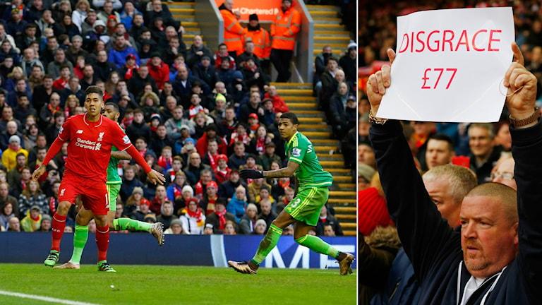 Liverpoolfans protesterar mot biljettpriser. Foto: TT