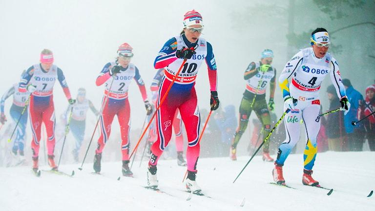 Charlotte Kalla under tremilen i Holmenkollen. Foto: Foto: Vegard Wivestad Grøtt/NTB scanpix/TT