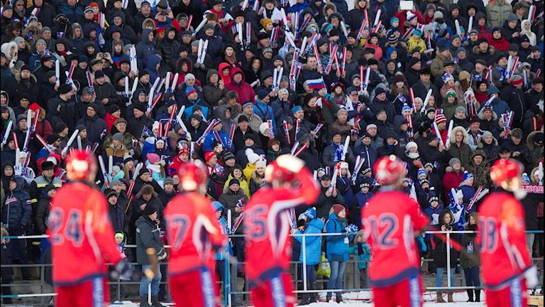 2016-02-07 Ryska fans under finalen mellan Ryssland och Finland vid bandy-VM i ryska Uljanovsk på söndagen. Foto: Rikard Bäckman/TT
