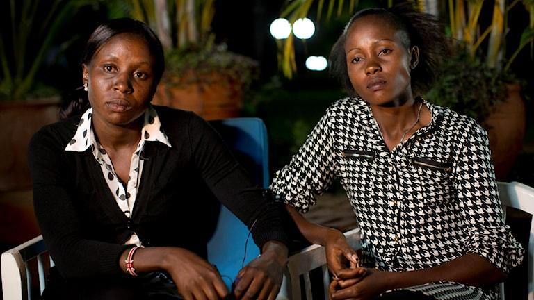 Joy Sakari, a 400-meter runner, left, and Francisca Koki Manunga,