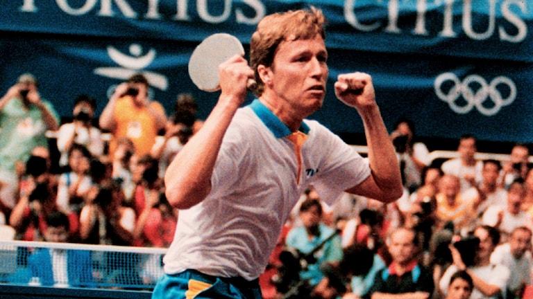 Jan-Ove Waldner vinner OS-guld 1992. Foto: TT