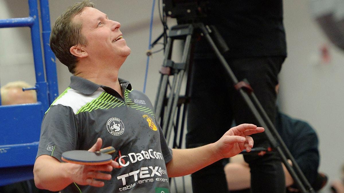 J-O Waldner under sin avslutningsmatch på karriären