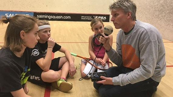 Christian Olsson med Emma, Fabian och Fritiof.