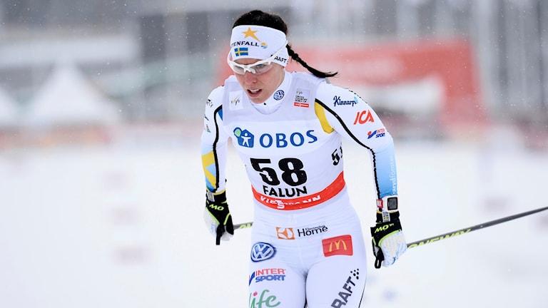 Charlote Kalla under svenska skidspelen i Falun