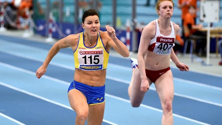 Susanna Kallur kom tvåa på 60 meter. Foto: Mikael Fritzon/TT