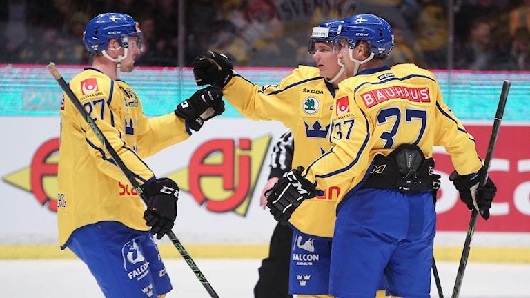 Sveriges Patrik Zackrisson jublar. Foto: Sören Andersson/TT