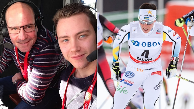 Radiosportens Torgny Mogren och Alexander Lundholm, till höger Charlotte Kalla. Foto: SR/TT