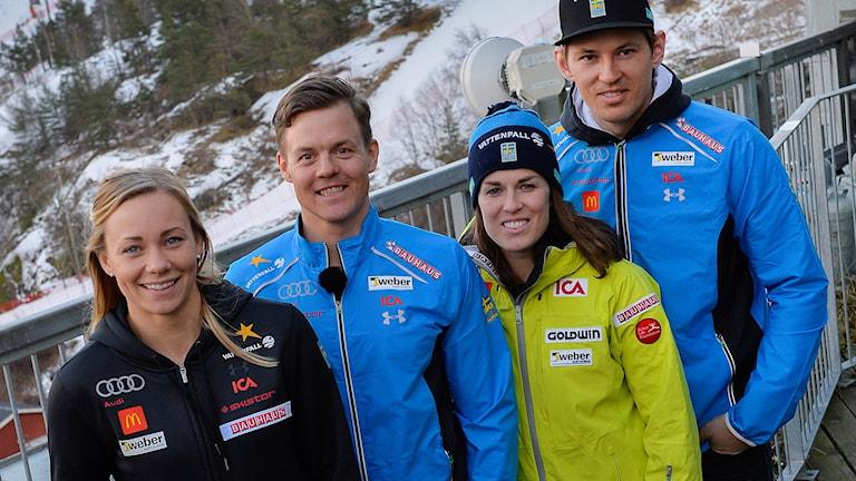 Frida Hansdotter, Mattias Hargin, Maria Pietilä Holmner och André Myhrer.