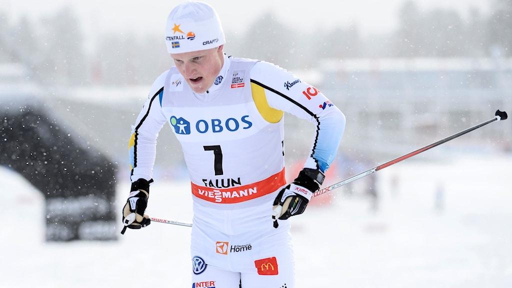FALUN 2016-02-13 Sveriges Jens Burman under herrarnas 10 km klassisk stil vid världscuptävlingen vid Svenska skidspelen i Falun på lördagen.