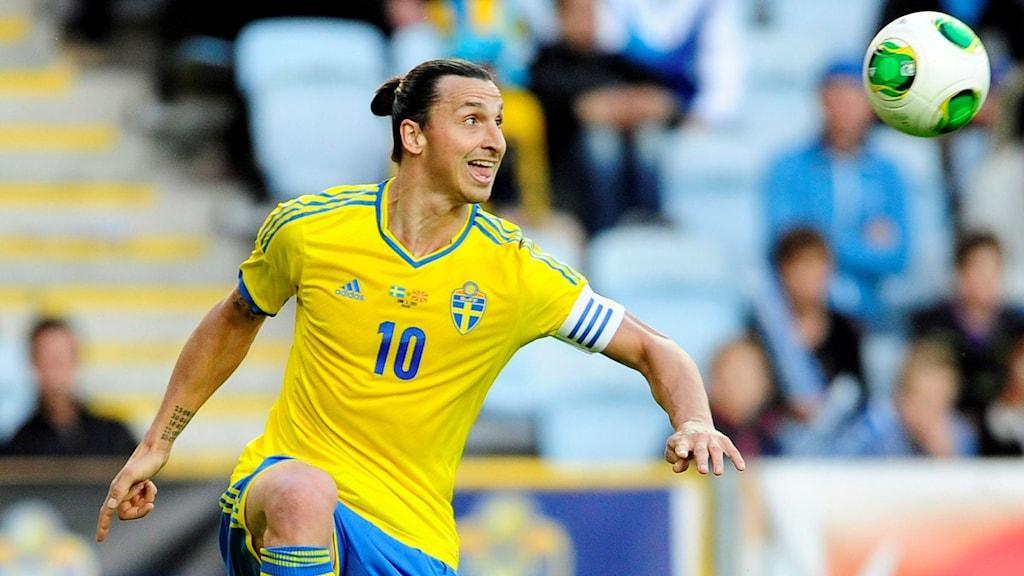 Zlatan under en tidigare landskamp på Swedbank Stadion.