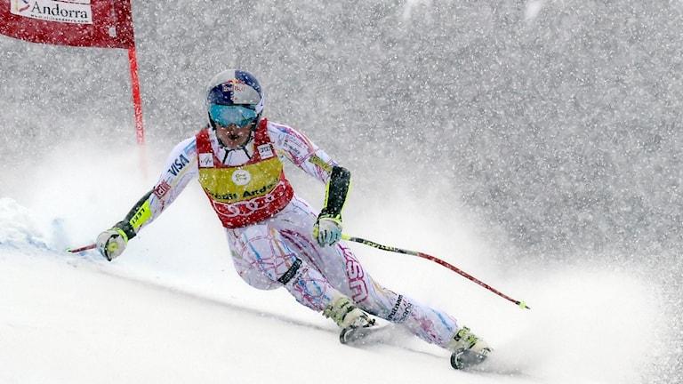 20160227 Lindsey Vonn i aktion i VC-tävlingen i Andorra. Foto: Pier Marco Tacca/AP Photo