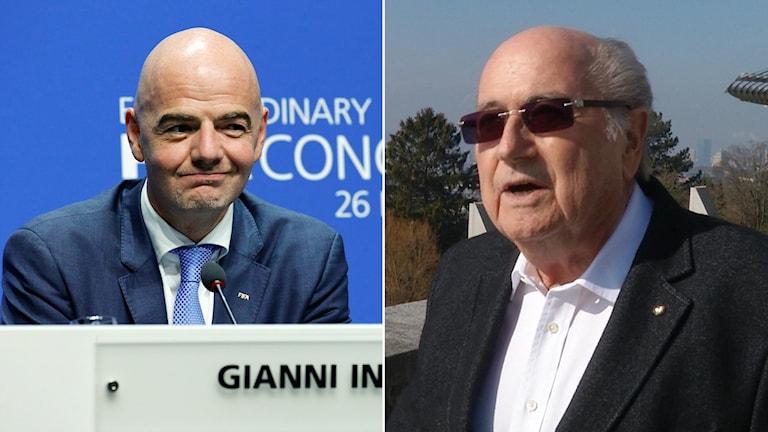 Gianni Infantino (t.v.), ny ordförande i Fifa och föregångaren Sepp Blatter