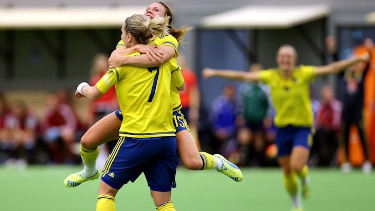 Svenskt jubel efter segern mot Skottland.