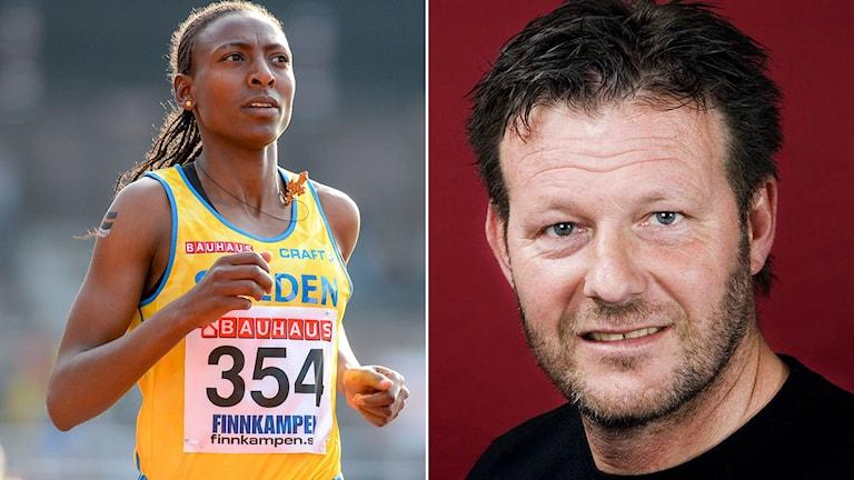 Abeba Aregawi (t.v.) och Radiosportens friidrottsexpert Miro Zalar.