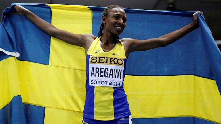 Abeba Aregawi efter inomhus-VM-guldet 2014.