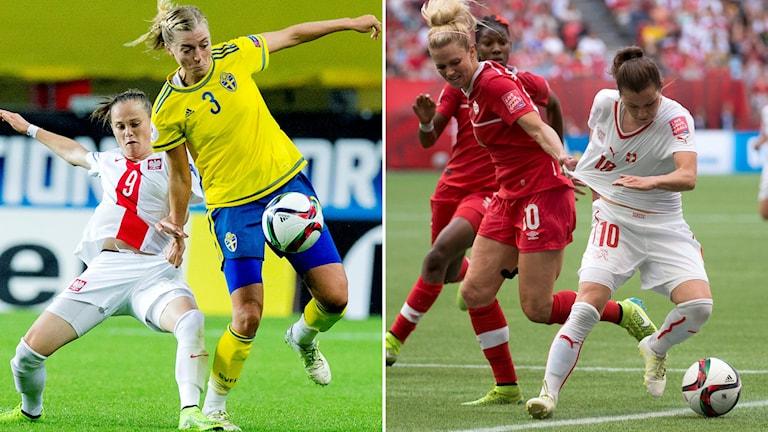 Fotboll: Sveriges Linda Sembrant och Schweiz Ramona Bachmann.