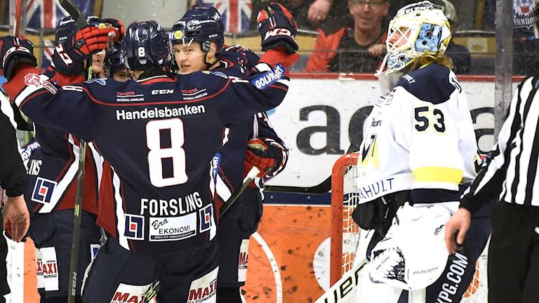 Linköping jublar efter mål mot HV 71.