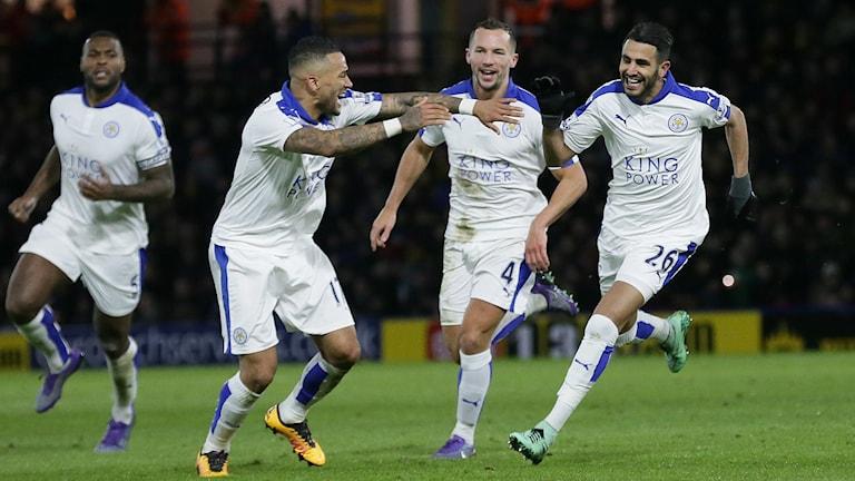Arkivbild. Leicester firar PL-mål.