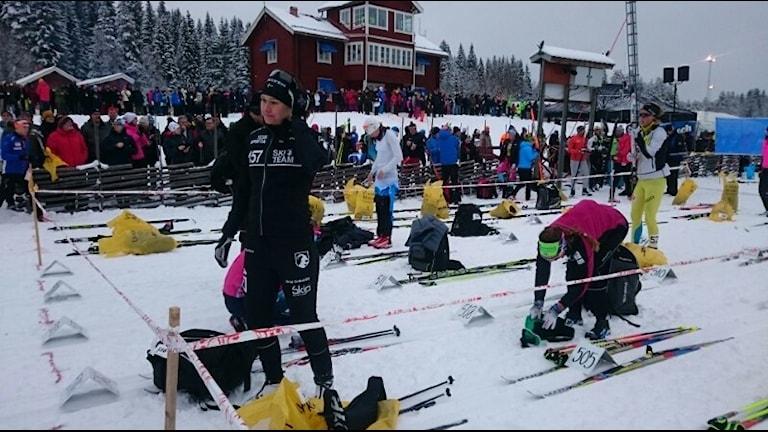 Britta Johansson Norgren vid Vasaloppsstarten. Foto: Cecilia Paulsson/Sveriges Radio