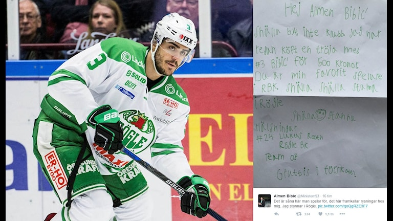 Collage: Rögles Almen Bibic och brev från supporter. Foto: TT och Twitter