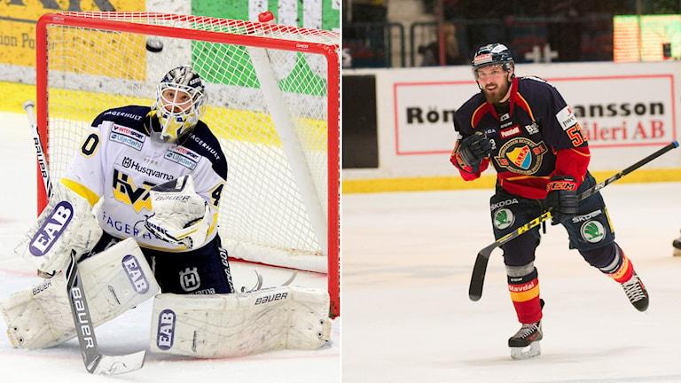 HV71:s målvakt Erik Ersberg och Djurgårdens Mikael Ahlén
