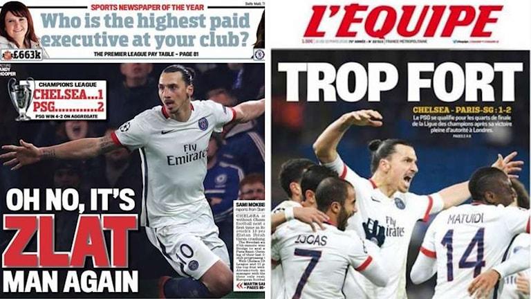 Förstasidorna av Daily Mail och L'Equipe med Zlatan Ibrahimovic