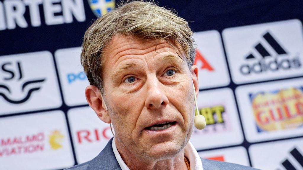 STOCKHOLM 2015-08-25 U21-landslagets förbundskapten Håkan Ericson under en pressträff i Solna på tisdagen.
