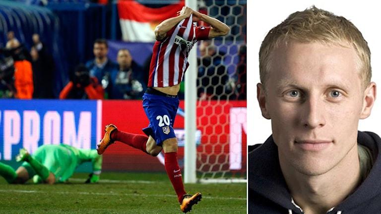 Atléticos Juanfran (t.h.) jublar efter avgörandet. Expert Richard Henriksson t.v.