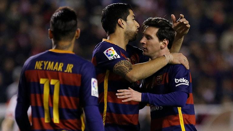Supertrion Neymar, Luis Suarez och Lionel Messi.