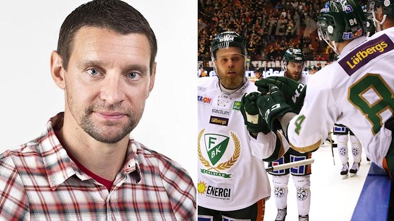 Radiosportens hockeyexpert Kristofer Ottosson och Färjestads Antti Tyrväinen