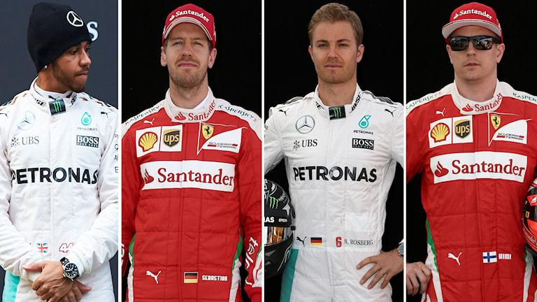 Hamilton, Vettel, Rosberg och Räikkönen. Foto: TT
