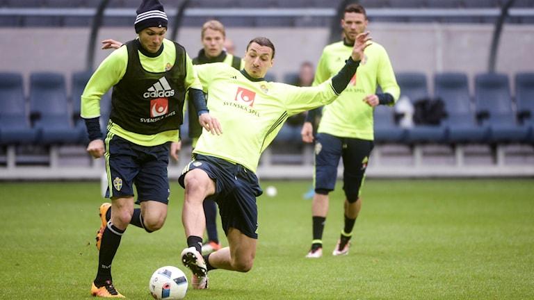 Zlatan under träningen på Friends.