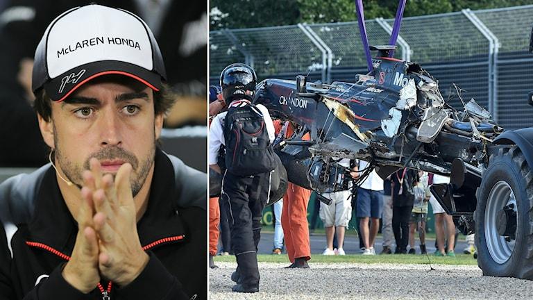 Fernando Alonso kraschade i Melbourne.