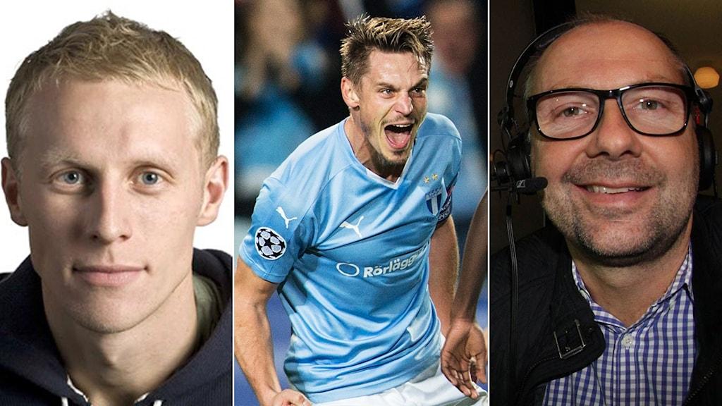 Experterna Richard Henriksson (t.v.) och Håkan Mild (t.h.) och MFF:s Markus Rosenberg