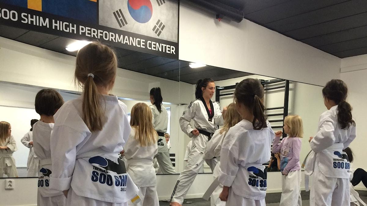 Taekwondo-träning i Skellefteåklubben Soo Shim