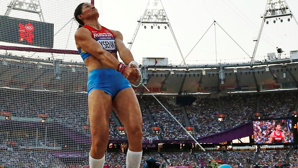 Tatjana Beloborodova (tidigare Lysenko) under London-OS 2012.