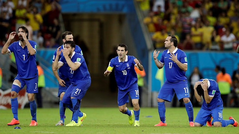 Grekiska spelare under straffläggning i VM 2014