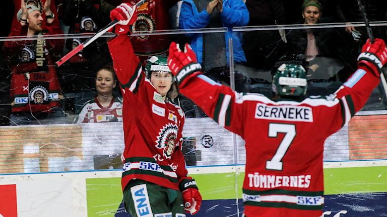 Frölundas Johan Sundström jublar efter sitt 2-0 mål.