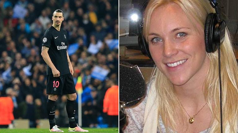 Zlatan och Radiosportens expert Johanna Frisk.