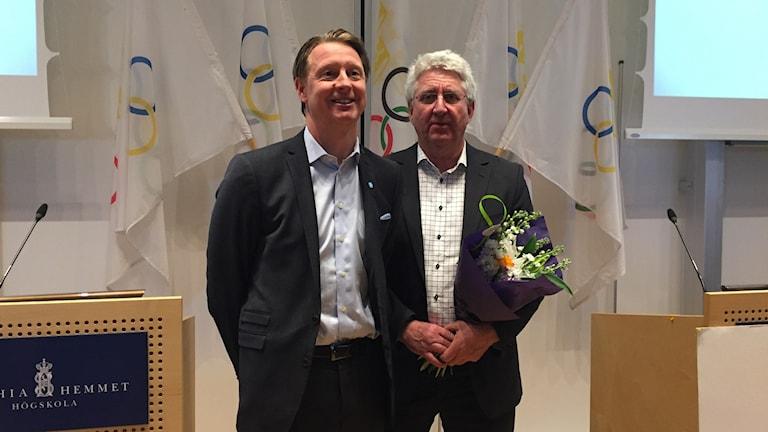 Hans Vestberg och Stefan Lindeberg på SOK:s årsmöte.