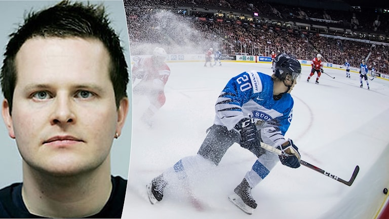 Christoffer Herberts om finsk hockey. Foto: TT, collage SR