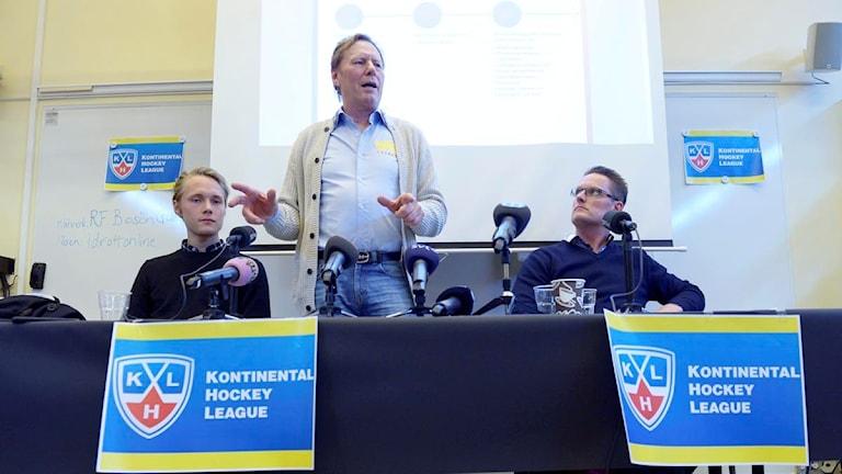 Stockholm 20160422 Leif R Carlsson under pressträffen om en svensk KHL satsning. Det blir ett svenskt KHL-lag i ishockey. Vid en presskonferens presenterades projektet kring laget som ska heta Crowns och rekryteringen började 10 april