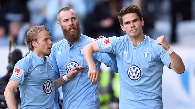 MFF:s Vidar Kjartansson (t.h.) jublar efter hattrick mot Häcken
