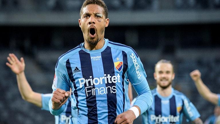 Djurgårdens Mathias Ranegie jublar efter att ha gjort 3-0 mot Östersund.