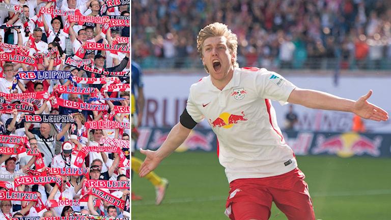 RB Leipzig-fans och Emil Forsberg som jublar i tröjan
